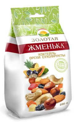 Коктейль орехи сухофрукты «Золотая жменька» 250 гр.
